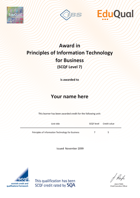 Technology Management Image: Award In Principles Of Information Technology For Business