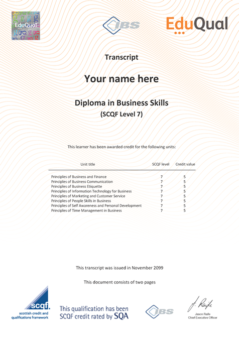 diploma in business skills  scqf level 7