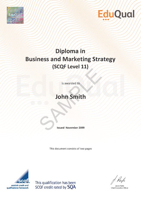 Diploma In Business And Marketing Strategy Scqf Level 11 Eduqual