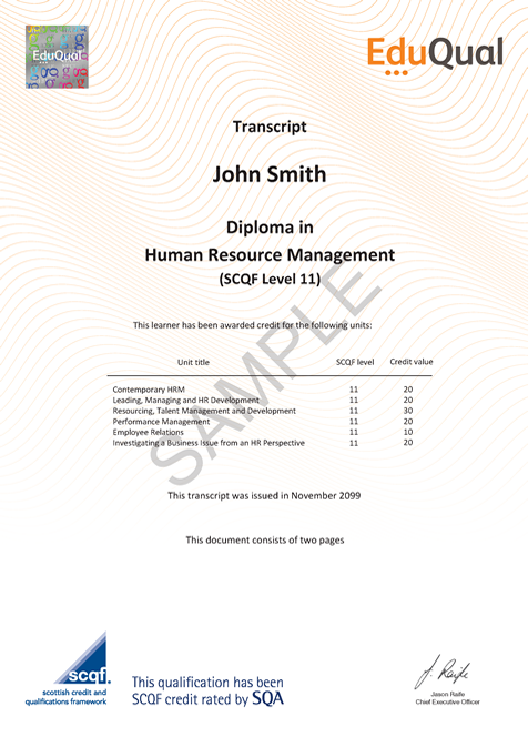 Diploma in Human Resource Management (SCQF Level 11) - EduQual